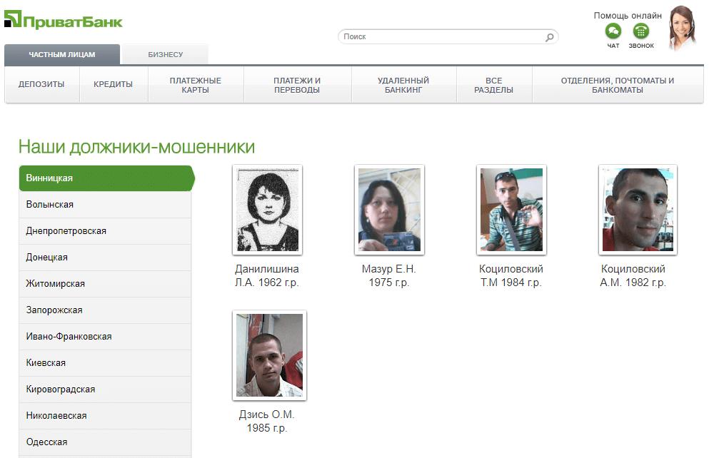 Список мошенников на сайте Приват Банка
